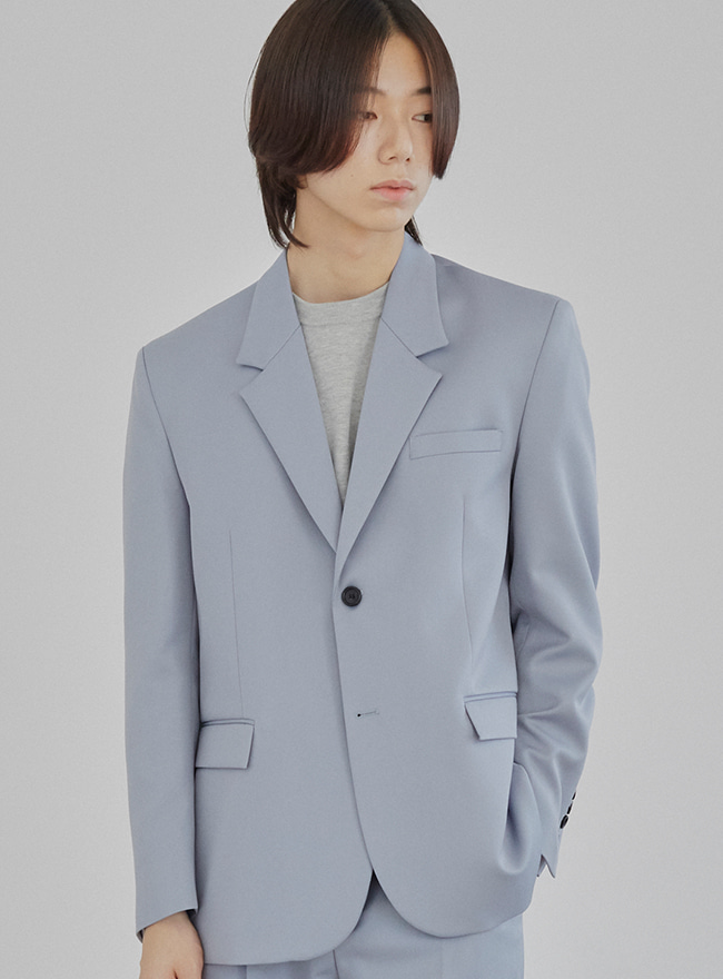 Conscious Single Blazer (Comfort Fit) - Slate Blue